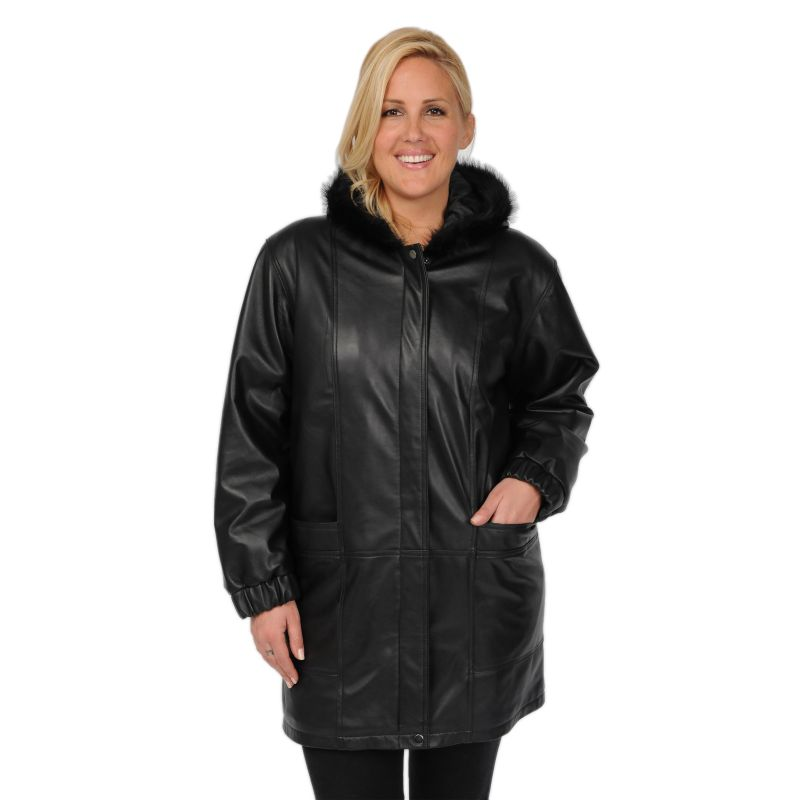 Plus Size Excelled Hooded Leather Walker Coat, Women's, Size: 1X, Black