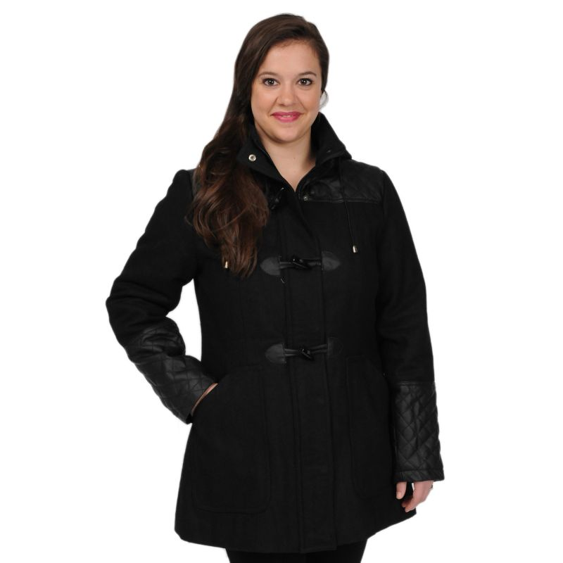 Plus Size Plus Size Excelled Hooded Toggle Wool-Blend Coat, Women's, Size: 1X, Black
