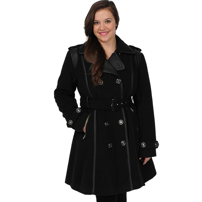 Plus Size Excelled Double-Breasted Faux-Wool Trench Coat -  (Black)