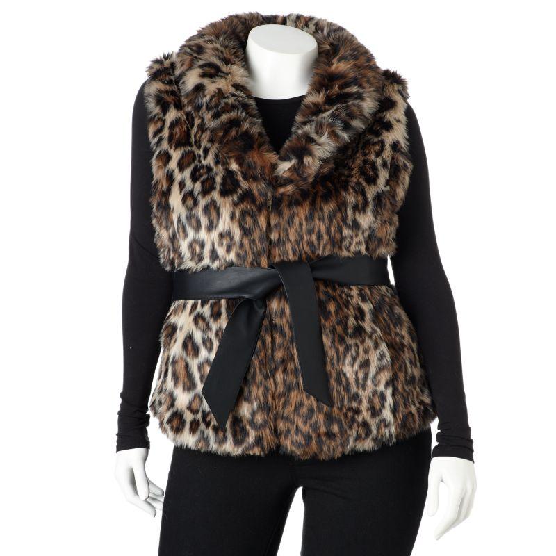 Plus Size Excelled Leopard Faux-Fur Vest, Women's, Size: 1X