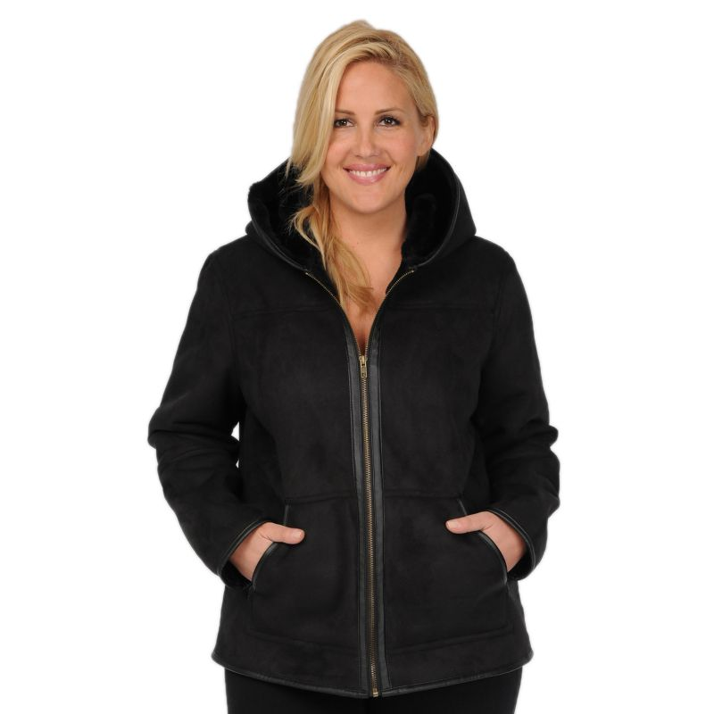 Plus Size Excelled Faux-Shearling Hooded Jacket, Women's, Size: 1XL, Black