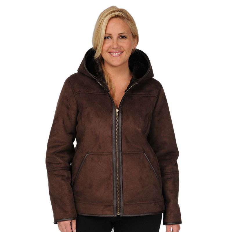 Plus Size Excelled Faux-Shearling Hooded Jacket