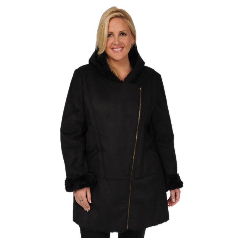 Plus Size Excelled Hooded Faux-Shearling Jacket, Women's, Size: 1X, Black