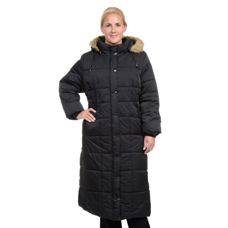 Plus Size Excelled Hooded Long Puffer Coat, Women's, Size: 1X, Black