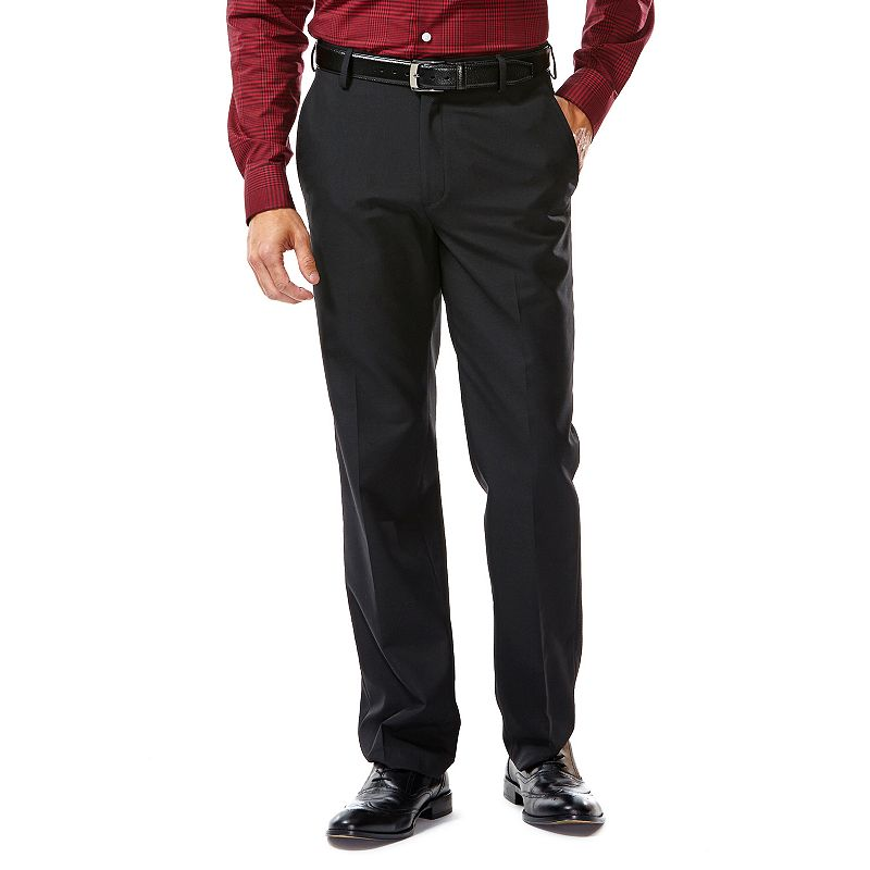 Men's Haggar® Tailored-Fit Solid Black Flat-Front Suit Pants