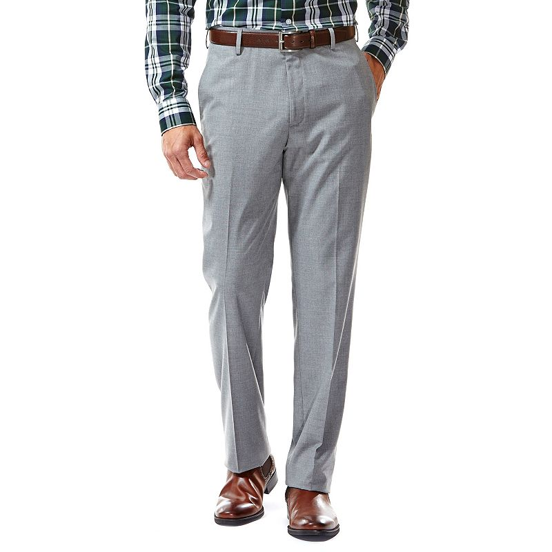 Men's Haggar® Straight-Fit Heathered Light Gray Flat-Front Suit Pants