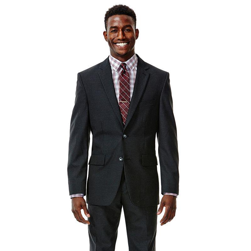 Men's Haggar® Straight-Fit Shadow-Striped Black Suit Jacket