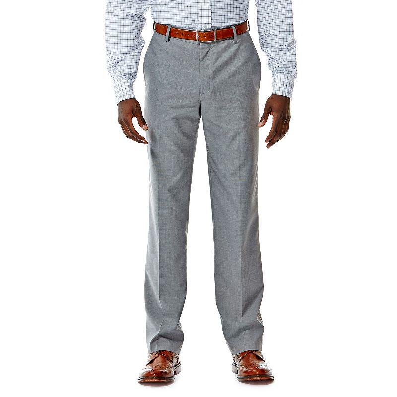 Men's Haggar® Straight-Fit Crosshatch Gray Flat-Front Suit Pants