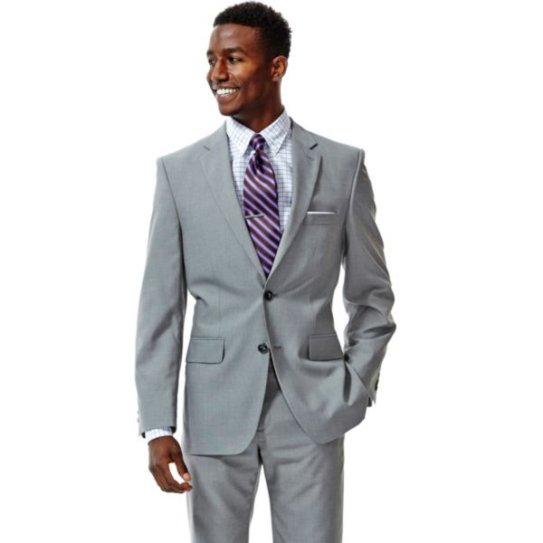 Men's Haggar® Tailored-Fit Crosshatch Gray Suit Jacket