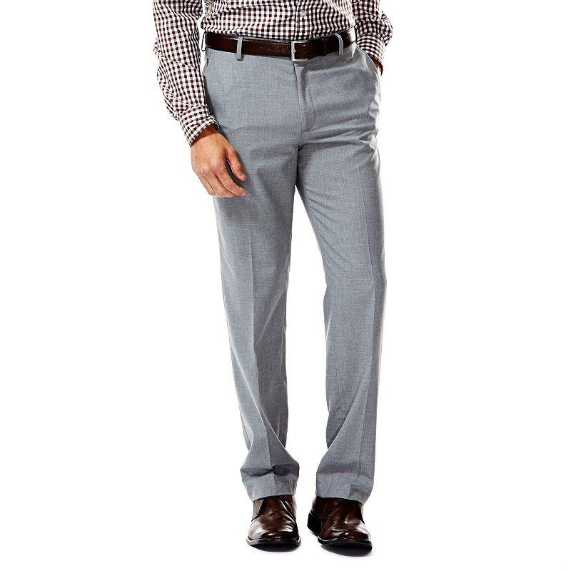 Men's Haggar® Slim-Fit Heather Flat-Front Light Gray Suit Pants