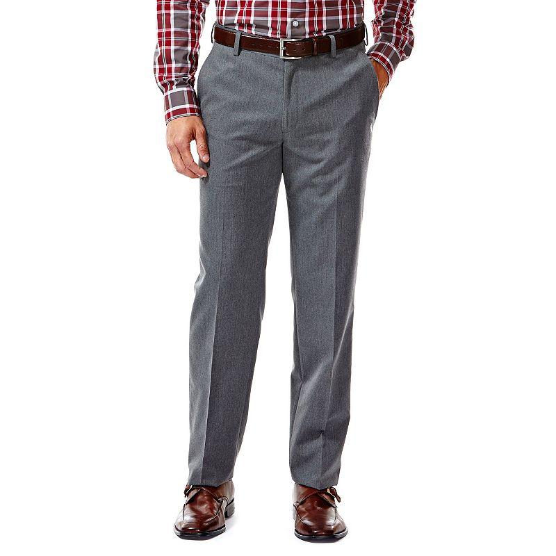 Men's Haggar® Slim-Fit Gabardine Heathered Dark Gray Flat-Front Suit Pants