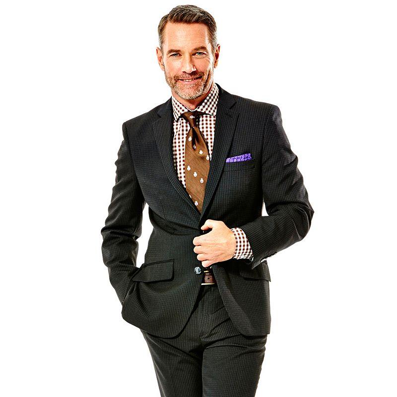 Men's Haggar® Slim-Fit Checked Heathered Black Suit Jacket