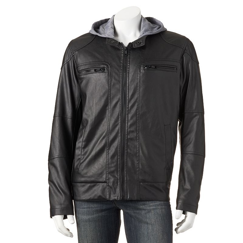 Men's Excelled Faux-Leather Hooded Moto Jacket