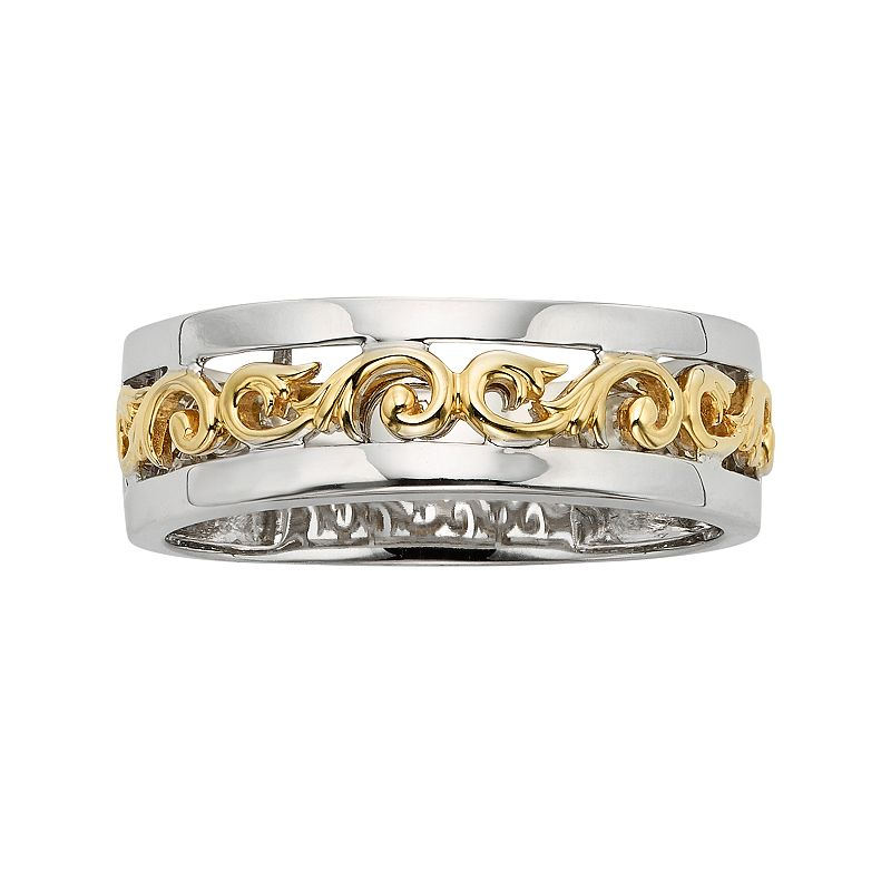 14k Gold Two Tone Scrollwork Wedding Band - Men