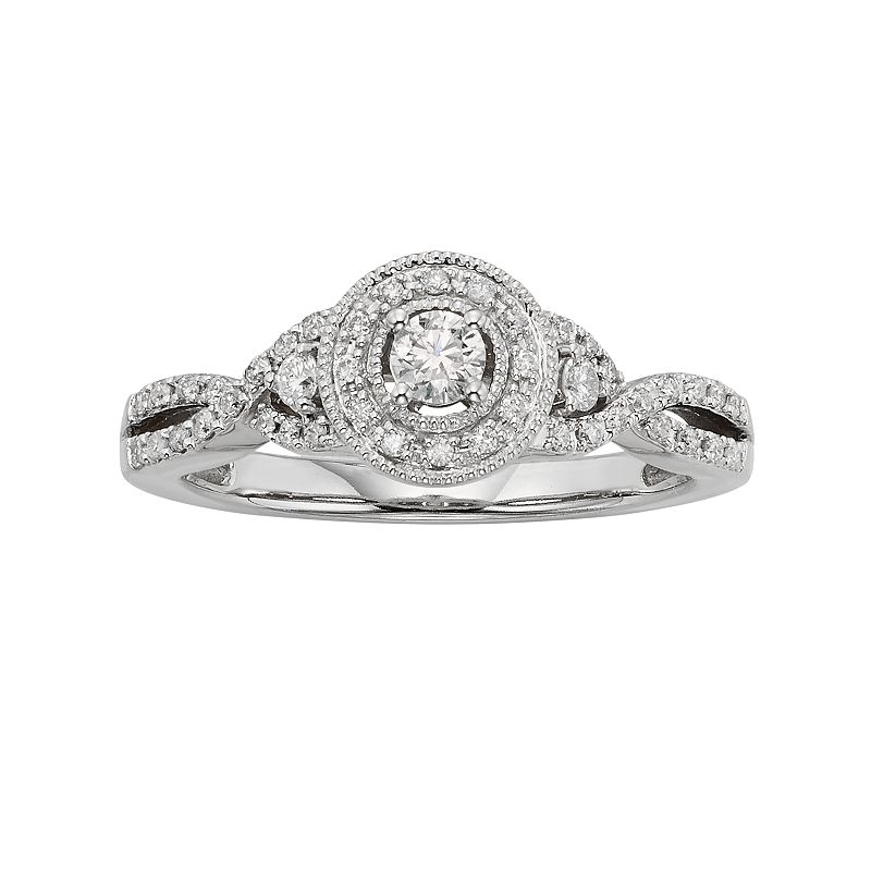 Diamond Crisscross Halo Engagement Ring in 10k White Gold (3/8 ct. T.W.)