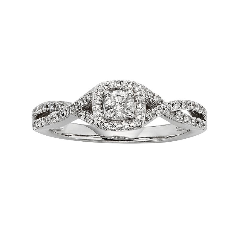 Diamond Crisscross Square Halo Engagement Ring in 10k White Gold (3/8 ct. T.W.)