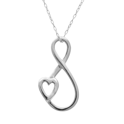 Sterling Silver Heart and Infinity Pendant