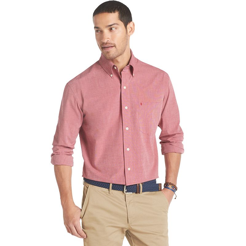 Big tall izod solid poplin casual button down shirt for Izod button down shirts