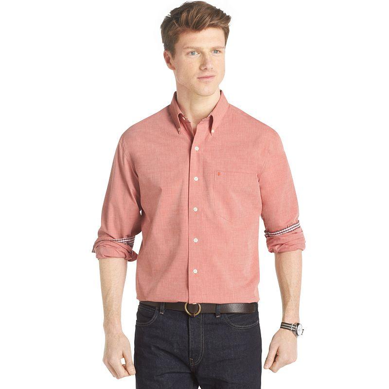 Big & Tall IZOD Solid Poplin Casual Button-Down Shirt