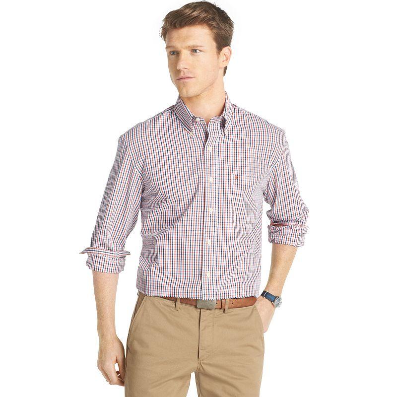 Big & Tall IZOD Tattersall-Plaid Casual Button-Down Shirt