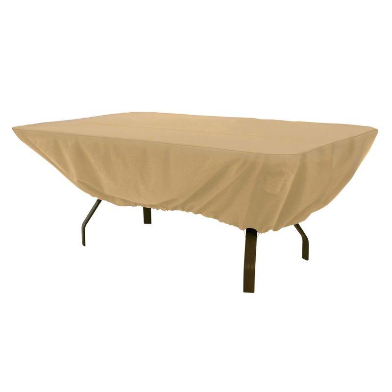 Classic Accessories Terrazzo Rectangular Patio Table Cover - Outdoor, Beig\/Green (Beig\/Khaki)