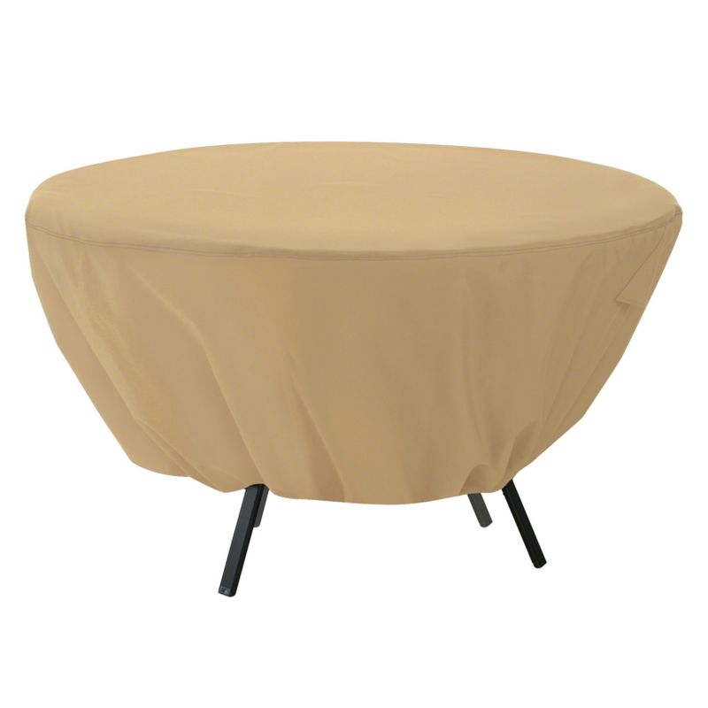 Classic Accessories Terrazzo Round Patio Table Cover - Outdoor, Beig\/Green (Beig\/Khaki)