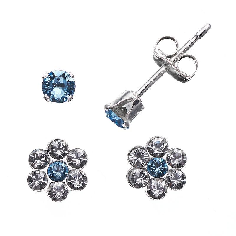 Charming Girl Sterling Silver Blue Cubic Zirconia and Crystal Flower Stud Earring Set - Made with Swarovski Crystals - Kids