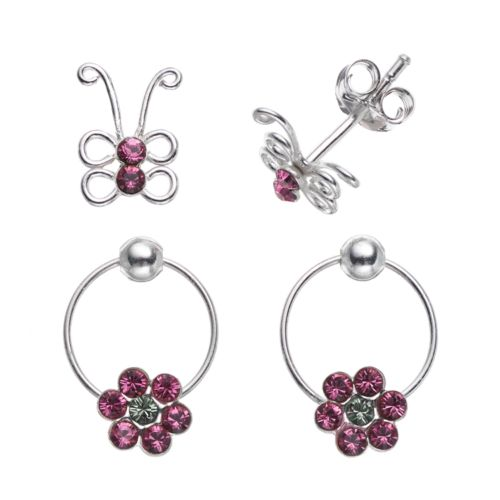 Charming Girl Sterling Silver Crystal Butterfly Stud and Flower Hoop Earring Set - Made with Swarovski Crystals - Kids
