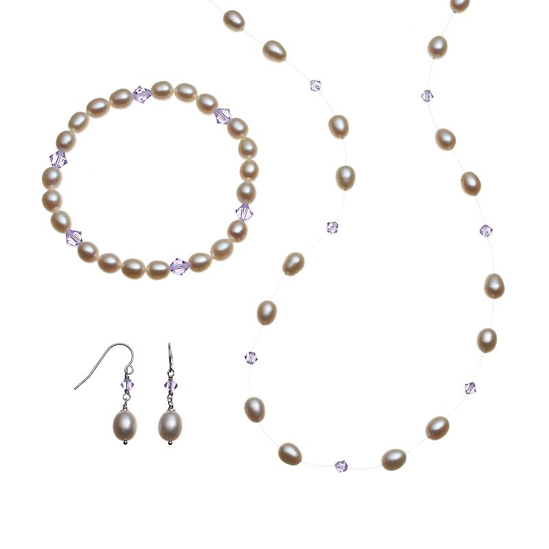 Freshwater by HONORA Sterling Silver Freshwater Cultured Pearl and Crystal Illusion Necklace, Stretch Bracelet and Drop Earring Set - Made with ...