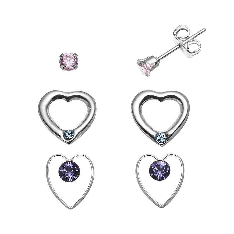 Charming Girl Sterling Silver Pink Cubic Zirconia and Crystal Heart Stud Earring Set - Made with Swarovski Crystals - Kids
