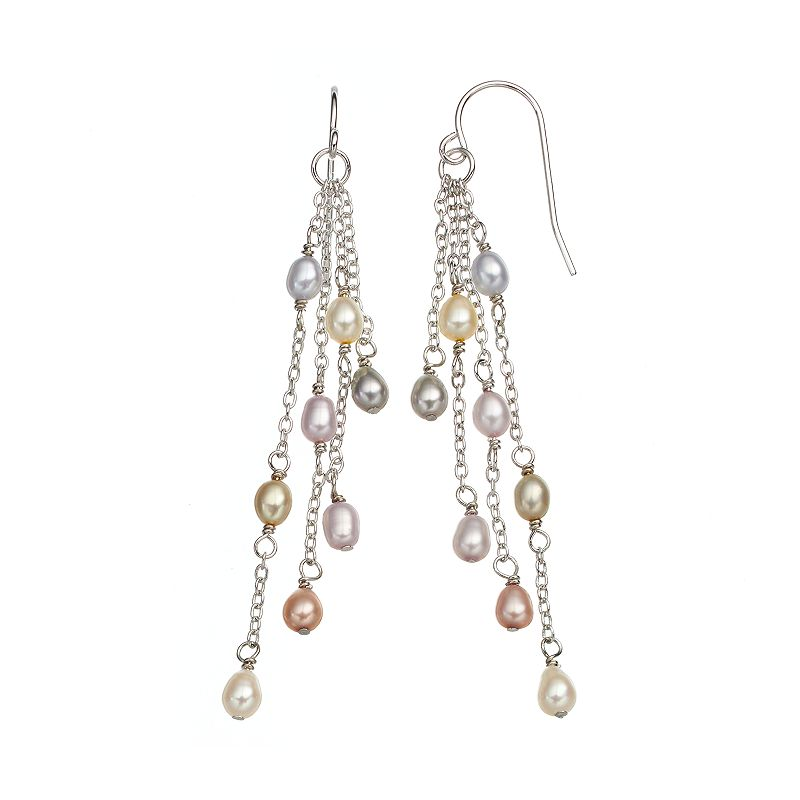 Freshwater by HONORA Sterling Silver Dyed Freshwater Cultured Pearl Linear Drop Earrings