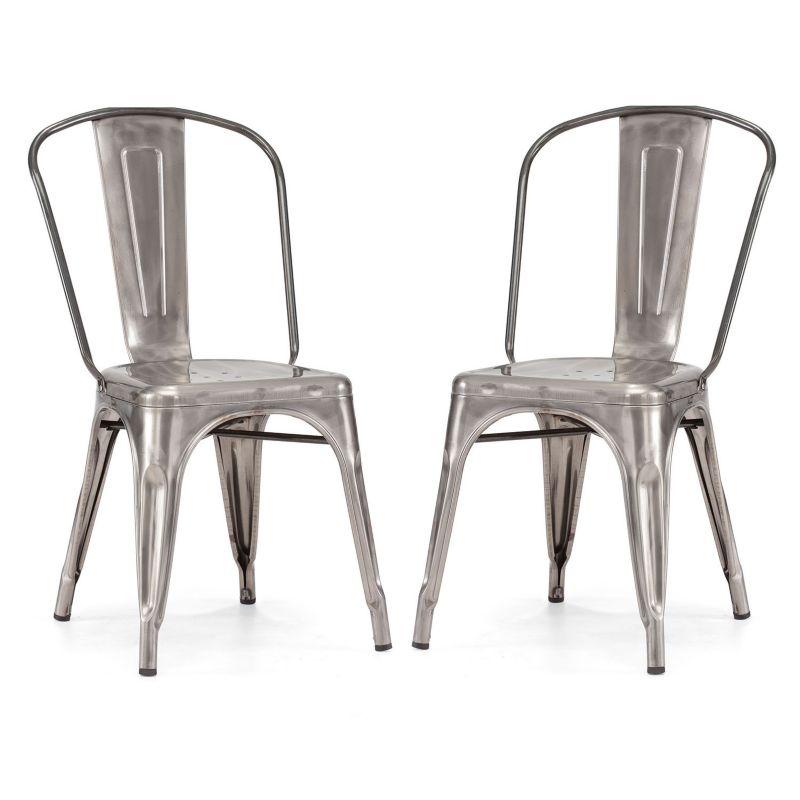 Zuo modern elio 2 pc chair set silver dealtrend