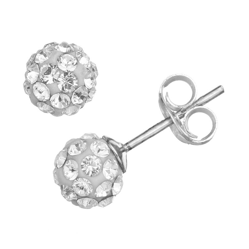 Charming Girl Sterling Silver Crystal Ball Stud Earrings - Made with Swarovski Crystals - Kids