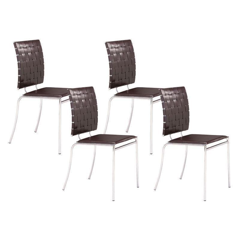 Zuo Modern Criss Cross 4 piece Dining Chair Set