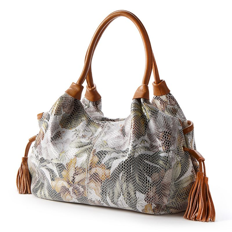 B-Collective by Buxton Leather Rosabella Snakeskin Floral Satchel
