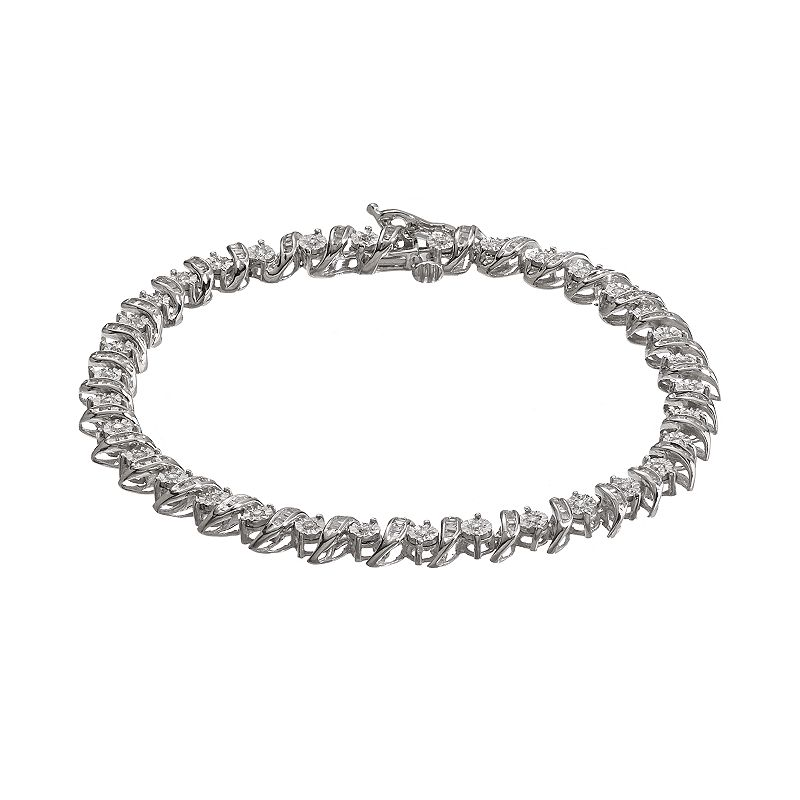 1 Carat T.W. Diamond 10k White Gold S-Link Tennis Bracelet