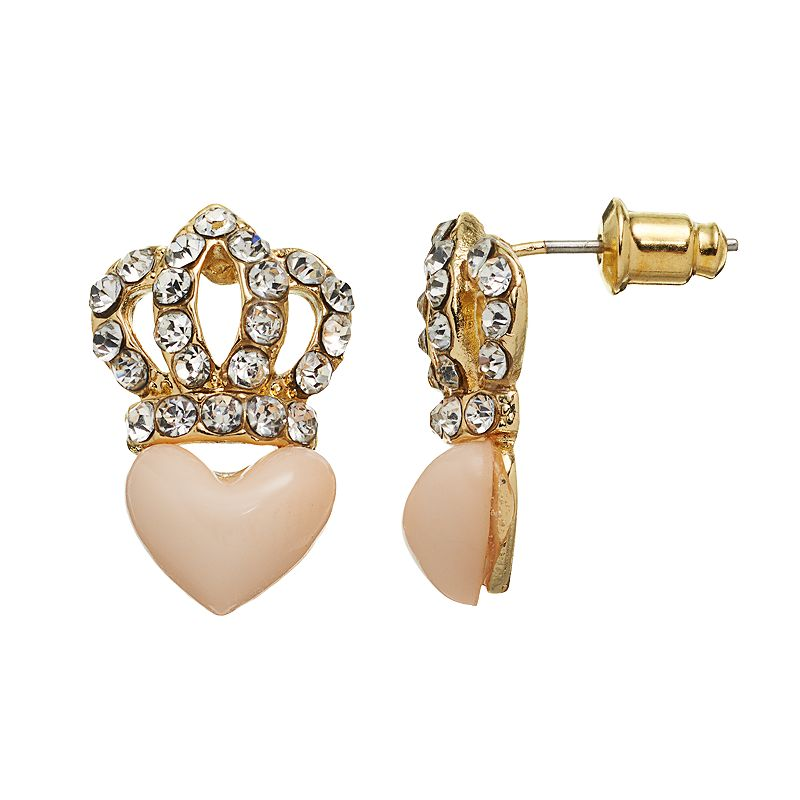 Juicy Couture Crown and Heart Stud Earrings