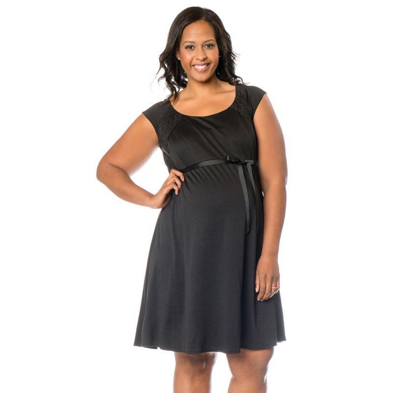Plus Size Plus Size Maternity Oh Baby by Motherhood Lace-Trim Ponte Dress, Women's, Size: 1X, Black