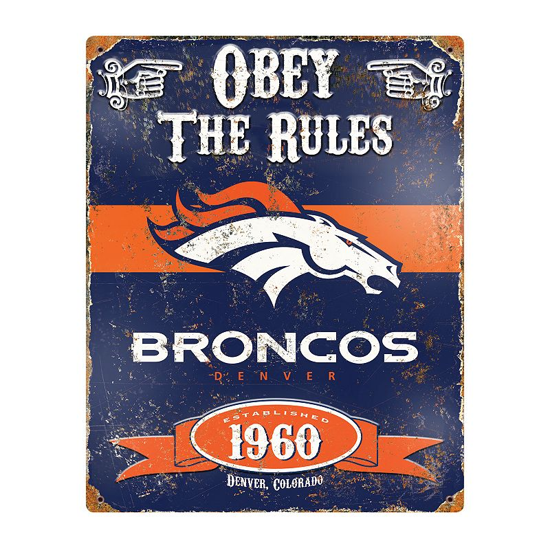 Denver Broncos Embossed Metal Sign