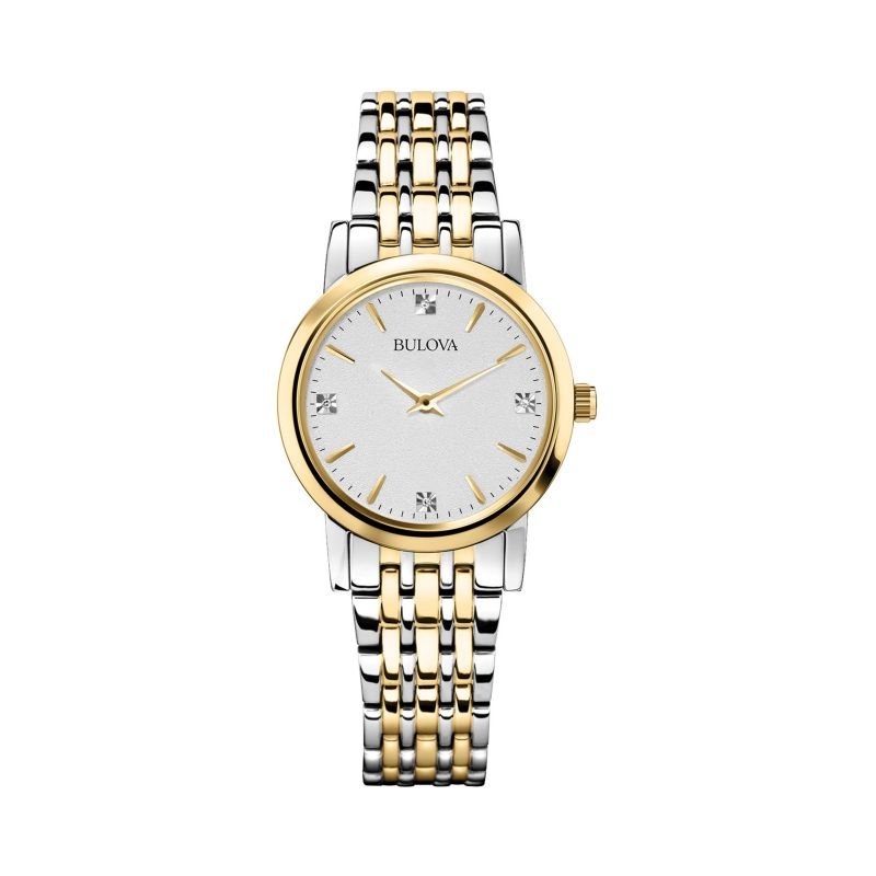 Bulova Women's Diamond Two Tone Stainless Steel Watch - 98P115, Size: Small, multicolor thumbnail