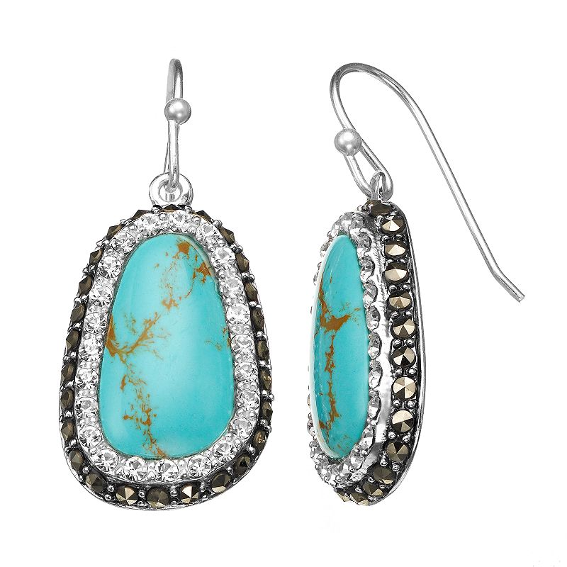 Simulated Turquoise, Crystal and Marcasite Silver-Plated Drop Earrings