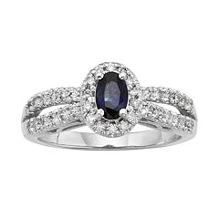 The Regal Collection Sapphire & 1/2 Carat T.W. IGL Certified Diamond 14k White Gold Tiered Oval Halo Ring by