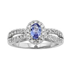 The Regal Collection Tanzanite & 1/2 Carat T.W. IGL Certified Diamond 14k White Gold Tiered Oval Halo Ring by