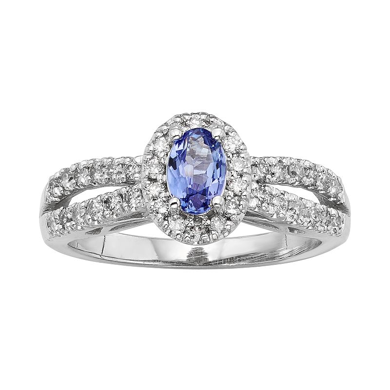 The Regal Collection Tanzanite and 1/2 Carat T.W. IGL Certified Diamond 14k White Gold Tiered Oval Halo Ring