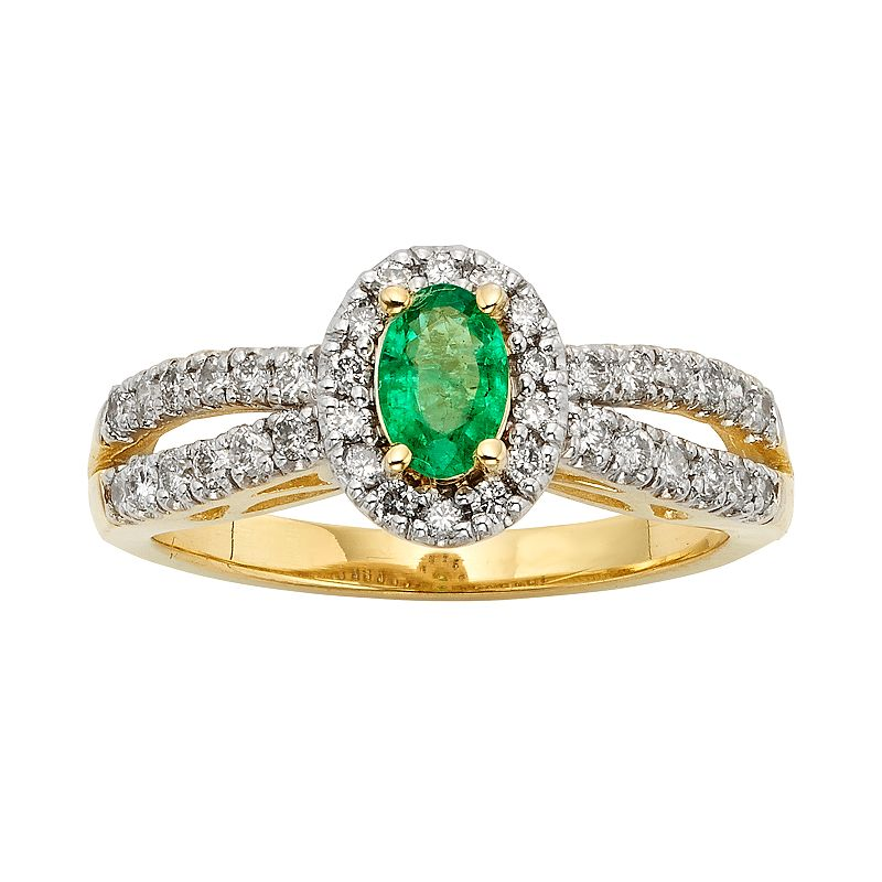 The Regal Collection Emerald and 1/2 Carat T.W. IGL Certified Diamond 14k Gold Tiered Oval Halo Ring