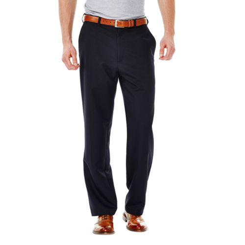 Haggar® Cool 18® Classic-Fit Flat-Front No-Iron Expandable Waist Pants - Men