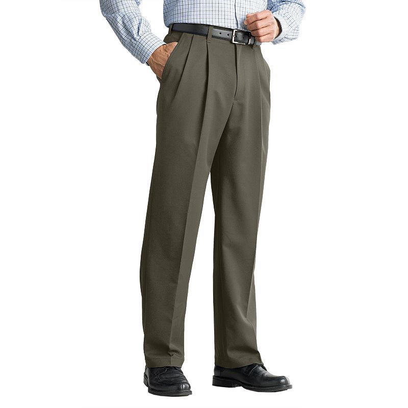 Men's Haggar® Cool 18® Classic-Fit Pleated No-Iron Expandable Waist Pants