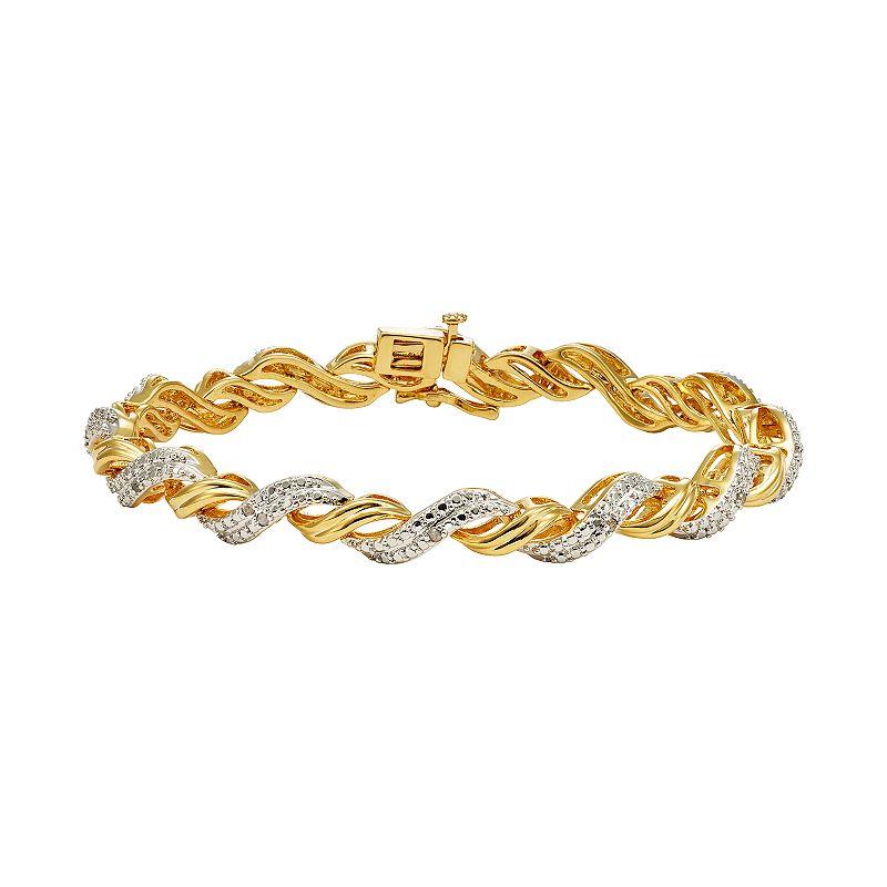 1/4 Carat T.W. Diamond 14k Gold-Plated Twist Bracelet