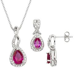 Lab-Created Ruby & Diamond Accent Silver-Plated Teardrop Halo Pendant Necklace & Drop Earring Set
