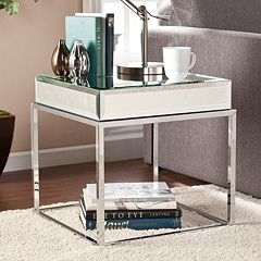 Southern Enterprises Lucinda Mirrored End Table by